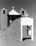Black and white photograph of Chapel at Taos Pueblo, Taos, NM, architectural and landscape photography by Tony Sanders