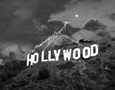 Black and white fictional exterior photograph of a storm above the Hollywood Sign, Hollywood, CA, architectural photography by Tony Sanders
